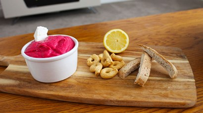 Recipe: Beetroot and feta hummus